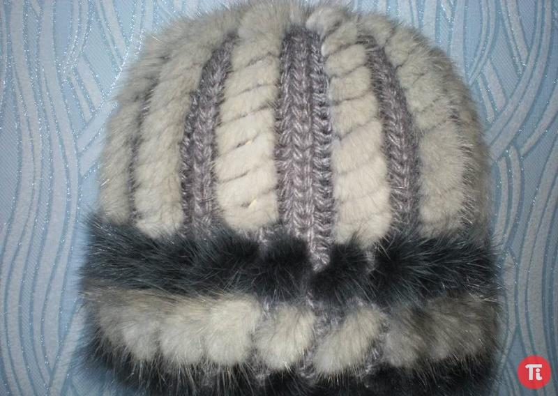 Вязание шапок меха норки