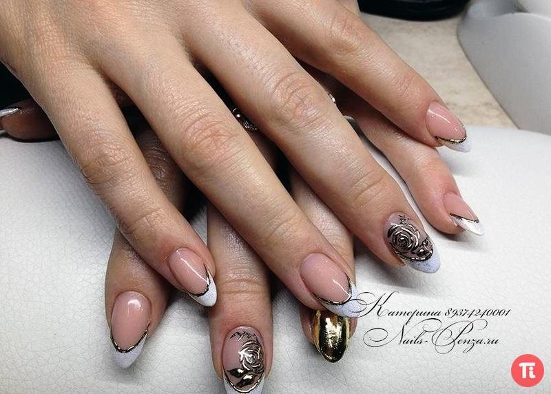 дизайн ногтей френч с литьем фото