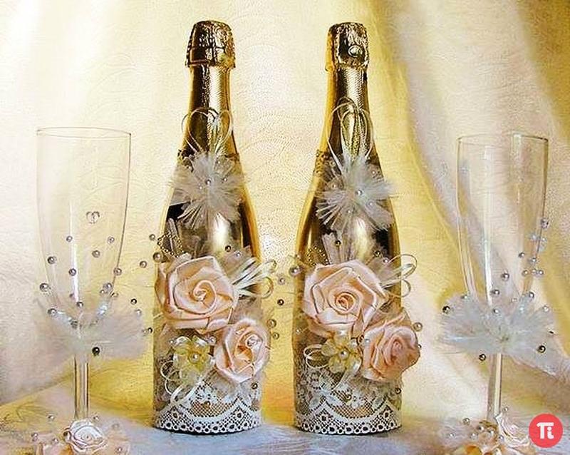 Оформить свадебную бутылку шампанского своими руками