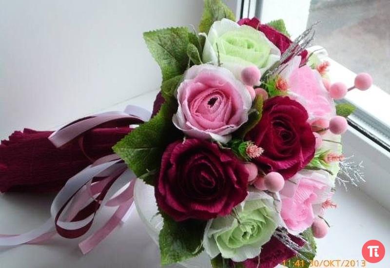 Букет цветов из гофробумаги своими руками 140