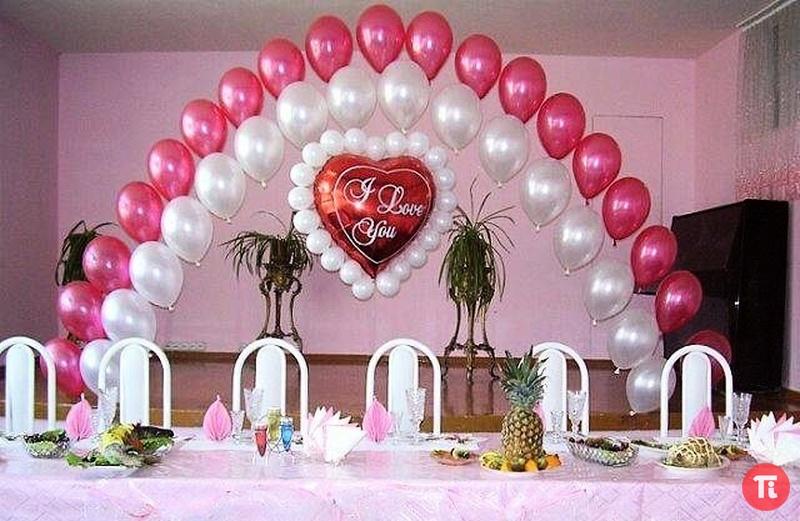 Оформление зала на свадьбу шарами. своими руками фото
