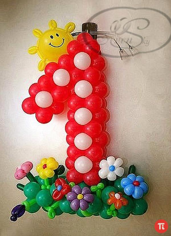 Цифра один из шаров своими руками фото