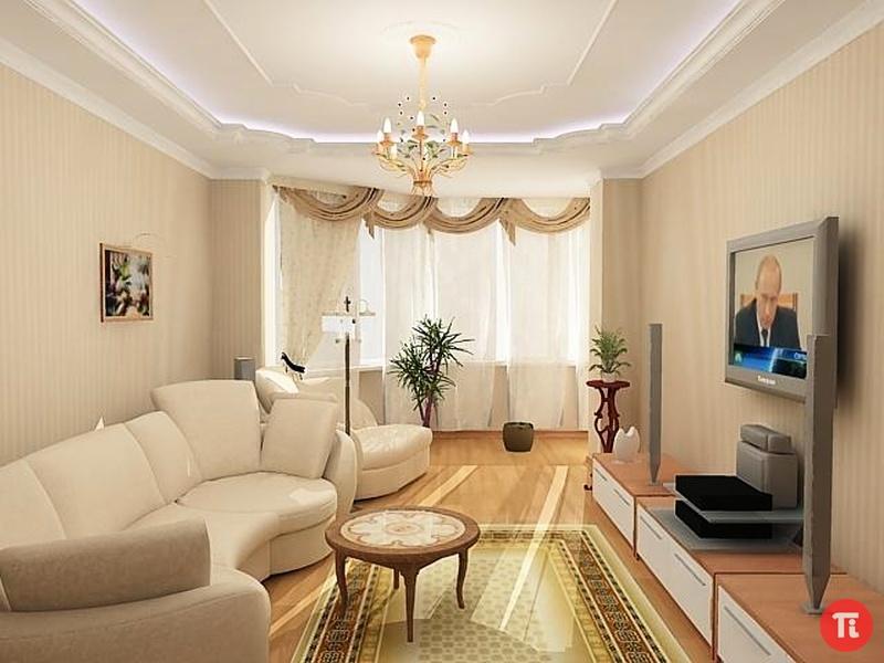 Дизайн интерьера зала 18 кв